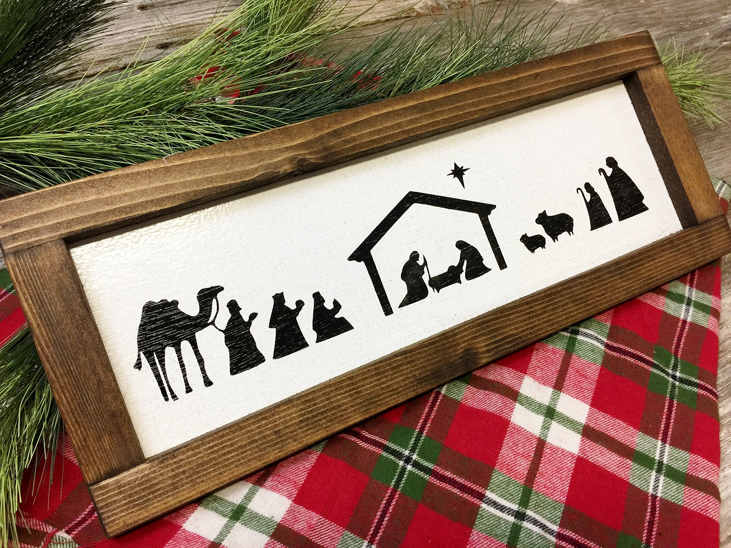 Nativity Scene Farmhouse Christmas Decor wood Sign - Manger Scene - Rustic Christmas Decor - Hand Painted Framed Sign