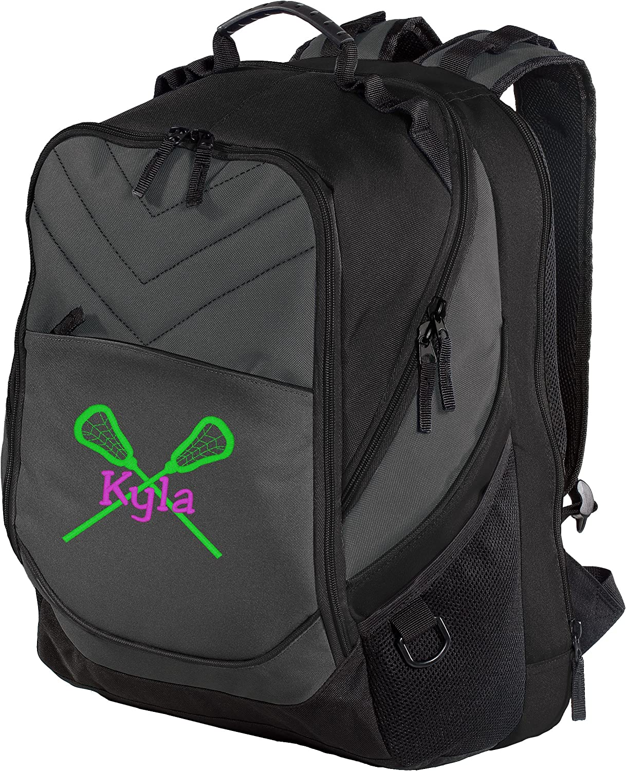 Shoulder Backpack with Customizable Embroidered Monogram Design Personalized Lacrosse Book Bag with Custom Text Dark Charcoal//Black