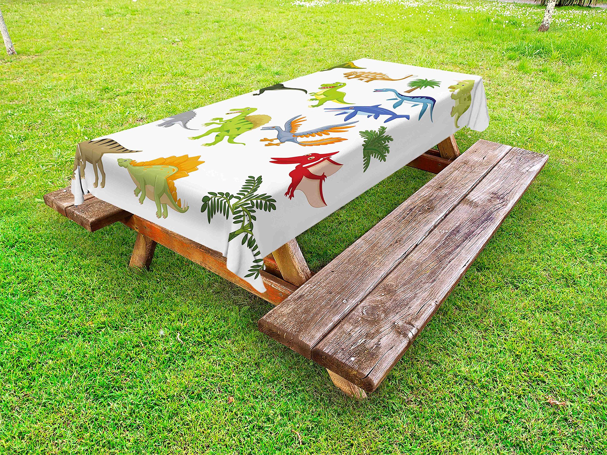 Lunarable Dinosaur Outdoor Tablecloth, Cartoon Dinosaur Images with Other Elements from Jurassic Fauna Cute Creatures, Decorative Washable Picnic Table Cloth, 58 X 120 Inches, Multicolor
