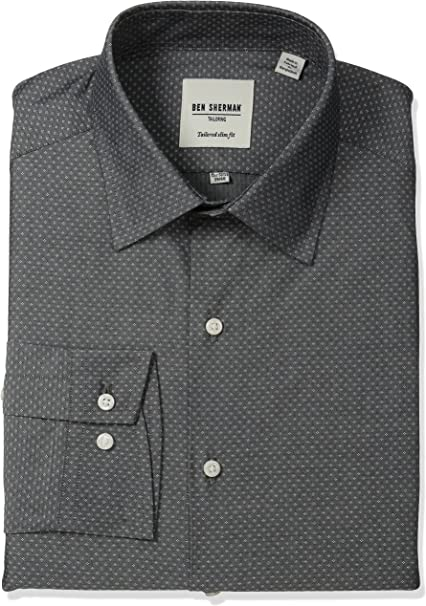 Ben Sherman Mens Slim Fit Diamond Dobby Spread Collar Dress Shirt