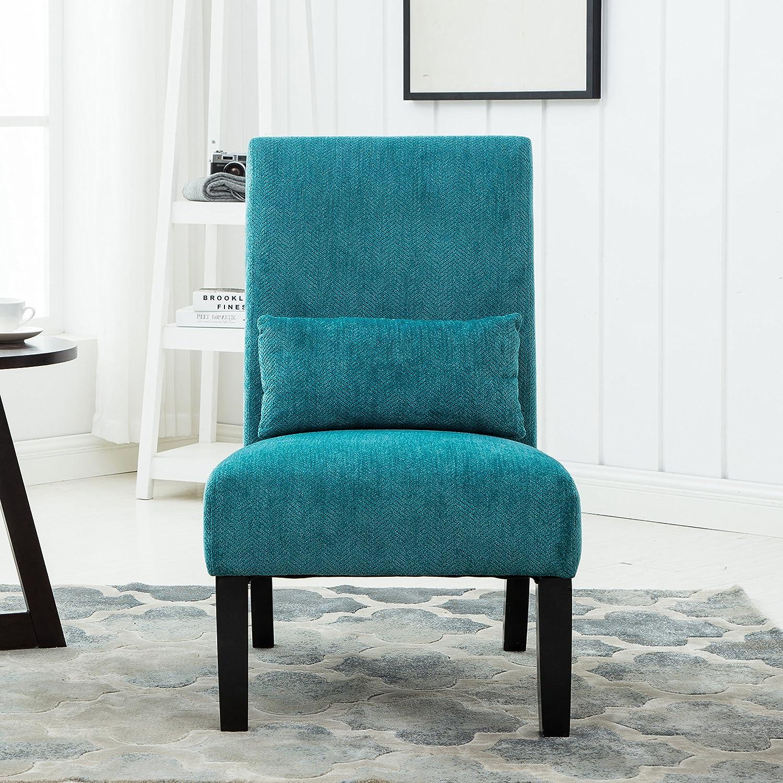 Amazon Roundhill Furniture Pisano Teal Blue Fabric Armless