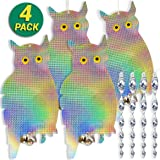 HOMESCAPE CREATIONS Owl Bird Repellent Control Scare Device - Holographic Reflective Woodpecker Deterrent With 12 inch Spiral Rods & 2 Bonus Suction Cups/2 Pack Combo
