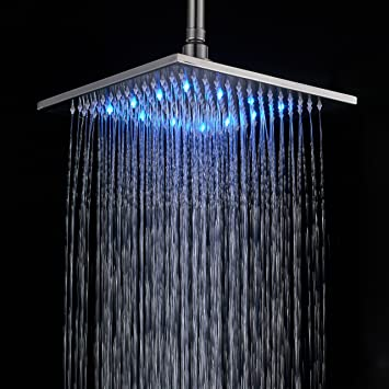 Rozin 12 Inch LED Color Bathroom Square Shower Head Rainfall Over Head Spray  Brushed
