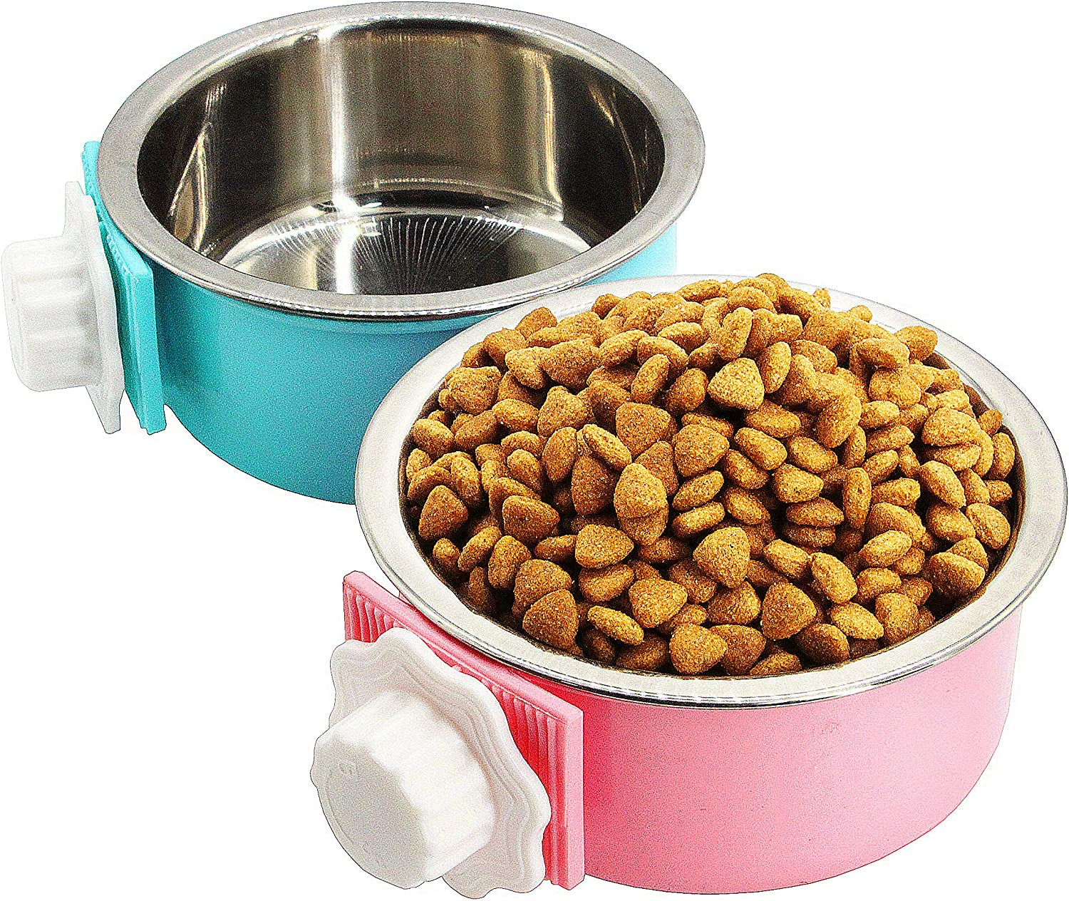 2 Pack Crate Dog Bowl, Removable and Stainless Steel Kennel Water Bowl Hanging Pet Cage Bowl Food & Water Feeder Coop Cup for Puppy Medium Dogs Birds Ferret Cat