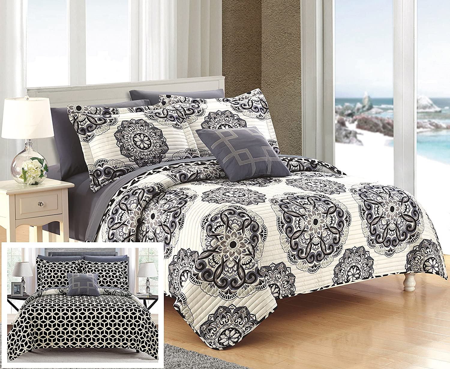 Chic Home Madrid 4 Piece Reversible Quilt Set Super Soft Microfiber Large Printed Medallion Design with Geometric Patterned Backing Bedding Set Black