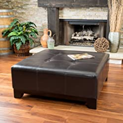 Great Deal Furniture Avalon Espresso Brown Leather Ottoman Coffee Table