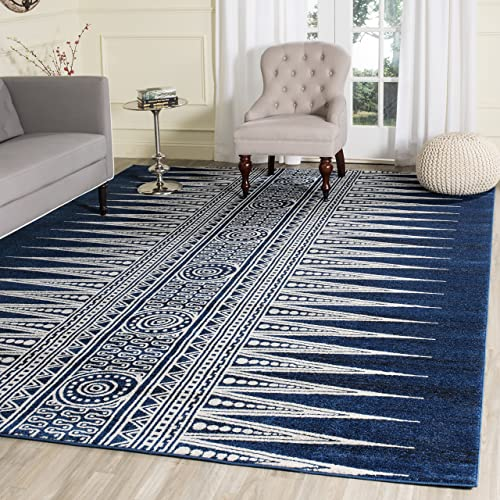 Safavieh Evoke Collection EVK226A Bohemian Vintage Royal Blue and Ivory Area Rug 8 x 10