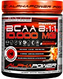 BCAA Pulver Vegan & Hochdosiert 8:1:1 Ratio - 10.000 MG, Instant 390g Aminosäuren Powder, SUPER Lösslich - KEIN Amino-Schaumteppich, SUPER leckerer & natürlicher Geschmack ALPHAPOWER FOOD BCAAS