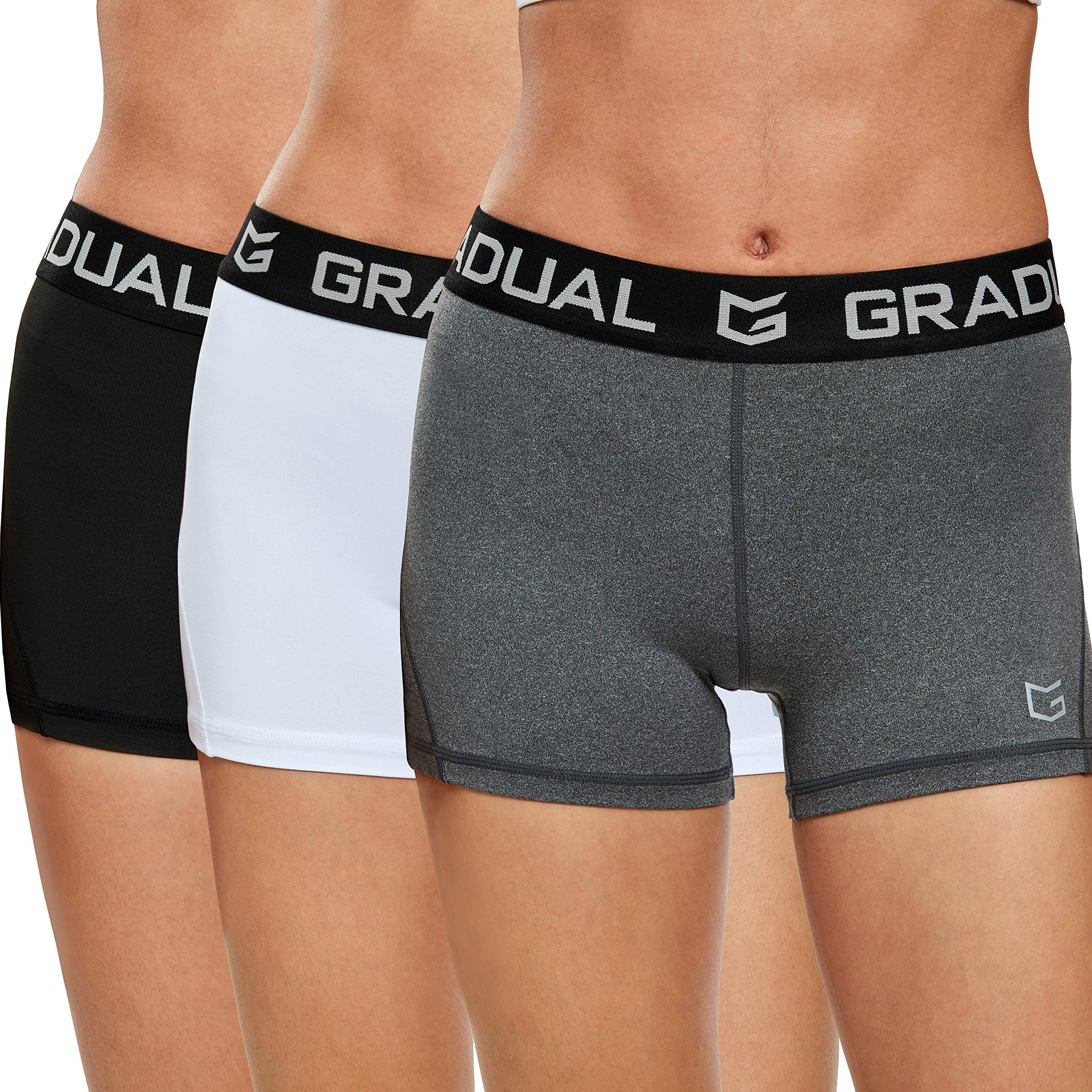 Women's Spandex Compression Volleyball Shorts 3'' Workout Pro Shorts for Women (3 Pack:Black/White/Gray, M) by G Gradual