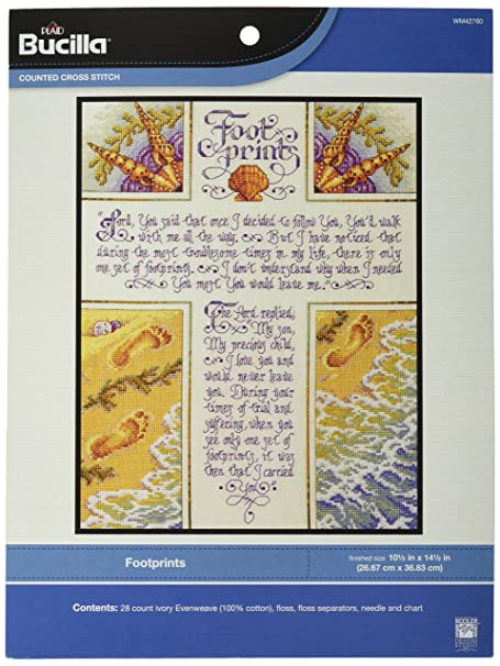 Bucilla Cotton Footprints Counted Cross Stitch Kit 105 X 14 Inches