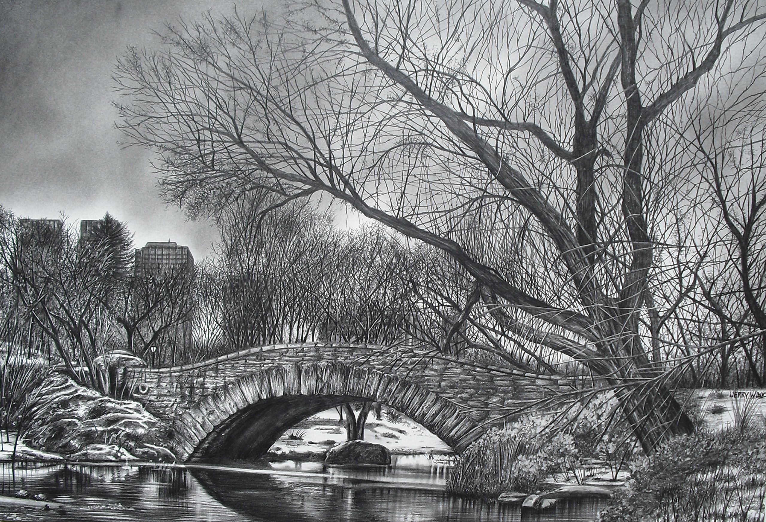 Central Park Bridge by Pencilworks Studio- Pencil Drawings by Jerry Winick