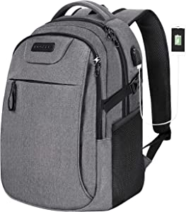 KROSER Laptop Backpack 15.6 Inch Travel Business Computer Backpack with USB Charging Port Water-Repellent College School Casual Daypack for Men/Women-Grey