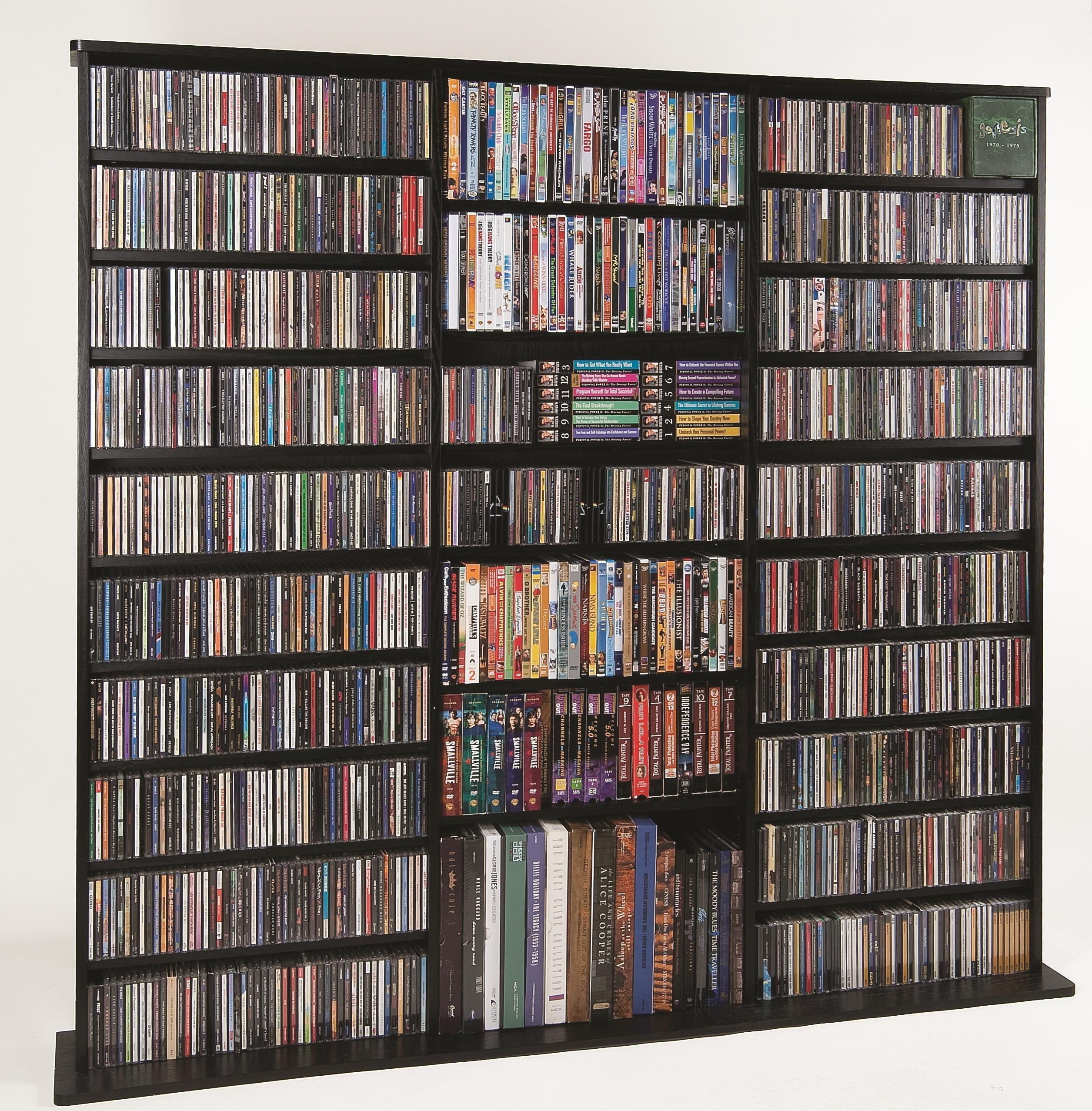 Leslie Dame High Capacity Oak Veneer Multimedia Cabinet, Black by Leslie Dame