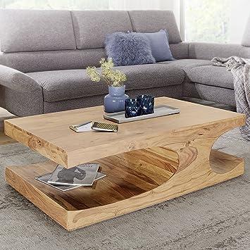 FineBuy Couchtisch Massiv Holz Akazie 118 Cm Breit Wohnzimmer Tisch Design  Dunkel Braun