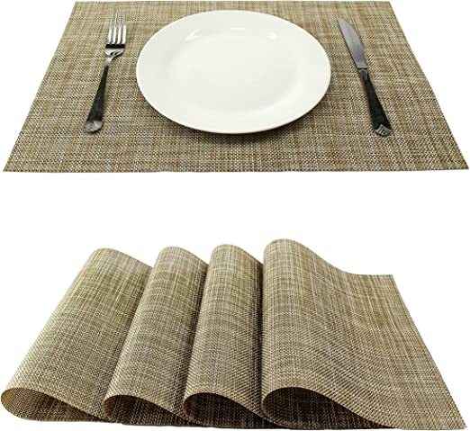 Placemats Washable Non-slip Woven Heat Resistant Dinner Table Mats  Set of 8