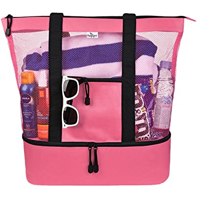 16be990e63b1 Mesh Beach Tote Bag for Women w Insulated Picnic Cooler and Zipper Top -  Large (