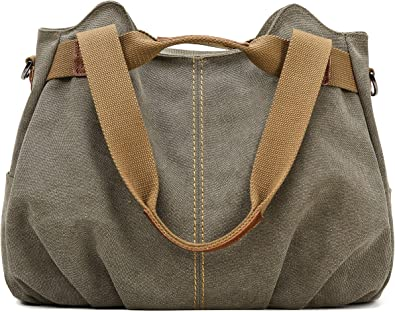 Women Top Handle Satchel Handbags Multi-Pocket Shoulder Bags Casual Canvas Handbags Hobo Tote Crossbody Bag