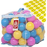 100 Phthalate BPA Free Crush Proof Plastic Balls, Variety of Colors, With A Zipper Bag. FREE BONUS: 48 Fun Smiley Stickers for Children to Enjoy By Flyspro