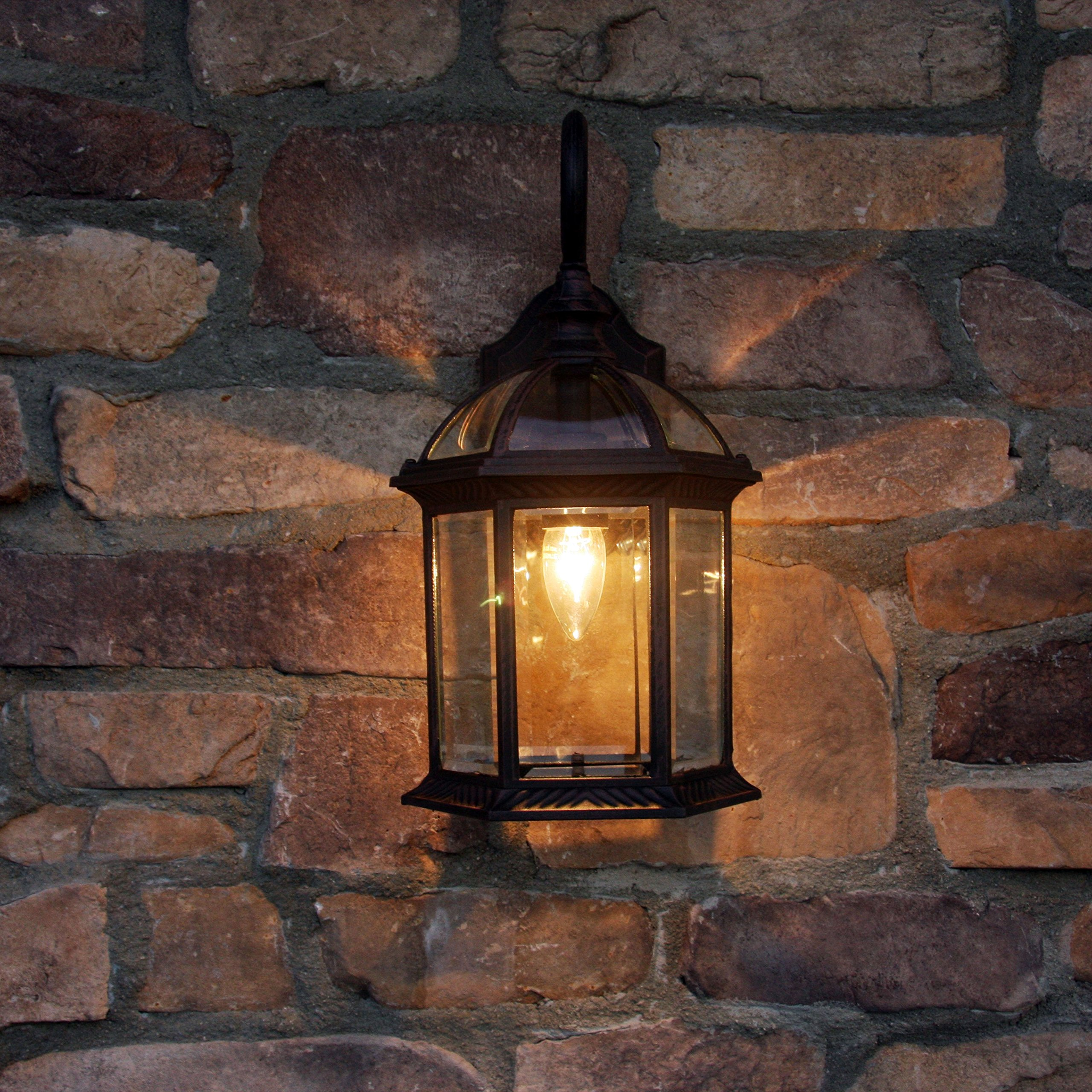 Y Decor EL52VB Modern, Transitional, Traditional Exterior Outdoor Wall Scone 1 Light Bronze with Clear Glass By Y Décor, Brown