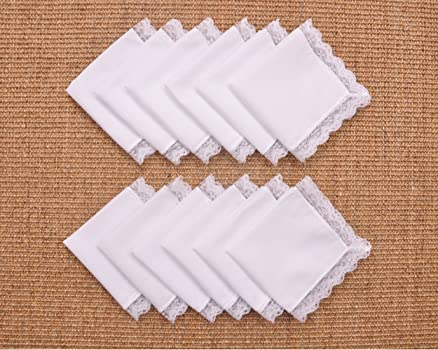 Houlife Ladies 100/% 60S Cotton Handkerchiefs Womens Soft Solid Pure White Lace Hankies for Wedding Party DIY 6//12 Pieces 10x10//25x25cm