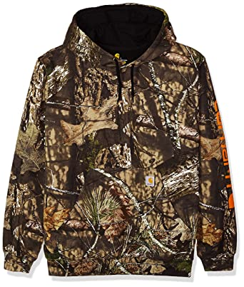 23ecb30e2 Carhartt Men's Midweight Camo Sleeve Logo Hooded Sweatshirt at Amazon Men's  Clothing store: