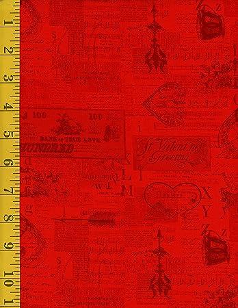 Amazon Com Cotton Fabric Clothworks Vintage Valentine By Anne