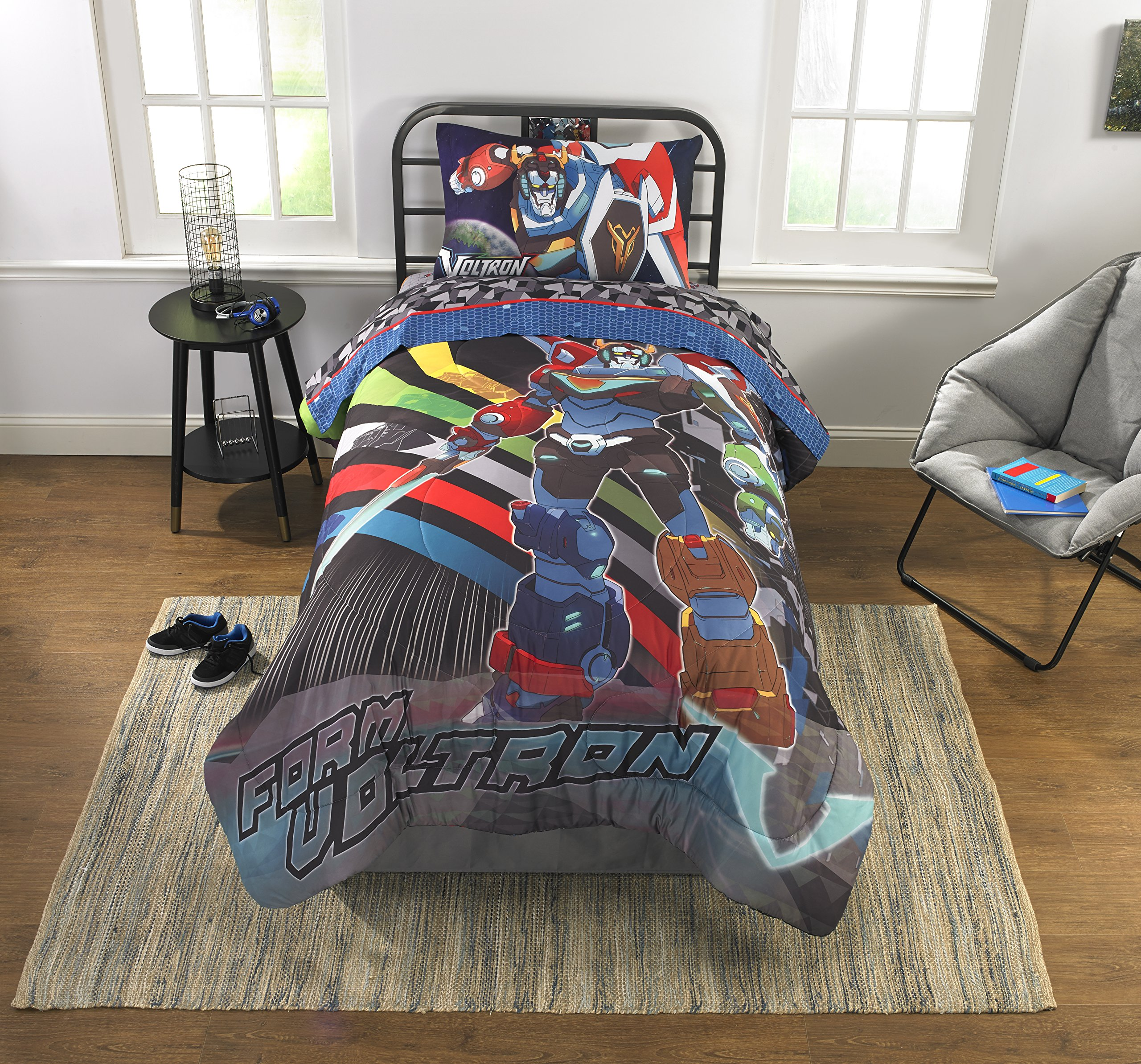 Action Packed,Fun and Exciting Voltron Boys Bedding Reversible Twin Comforter,64'' x 86'',Multicolor,Perfect Gift for Kids/Teen and Fans