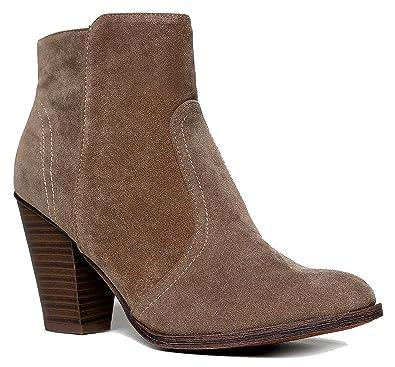 9820110b9cf14 Breckelle's Women's HEATHER-34 Faux Suede Chunky Heel Ankle Booties Beige