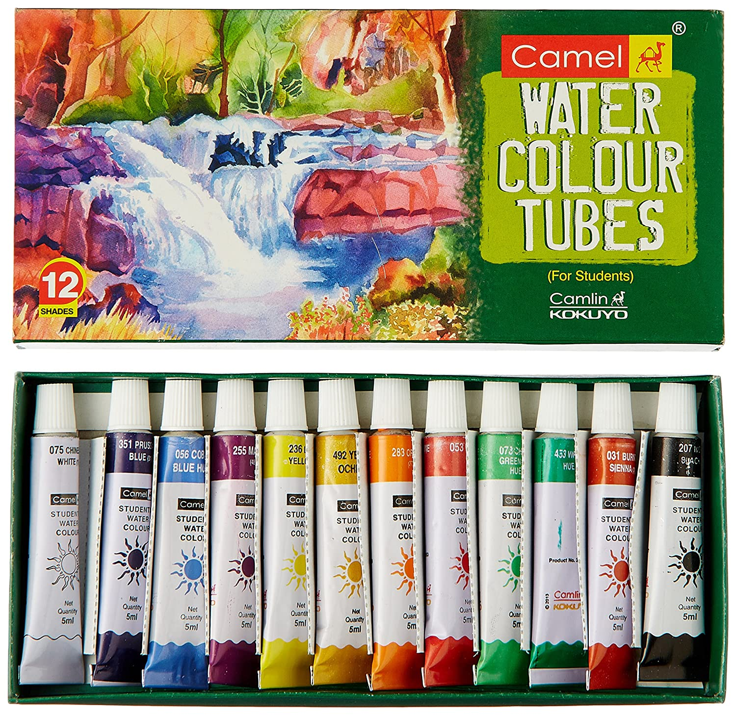 Camel Student Water Color Tube - 5Ml Each, 12 Shades Kokuyo Camlin Limited 3604502