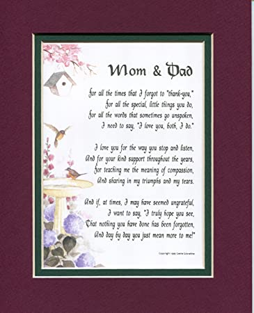 Amazon.com: A Present For Mom and Dad Poem #135, A Gift For ...