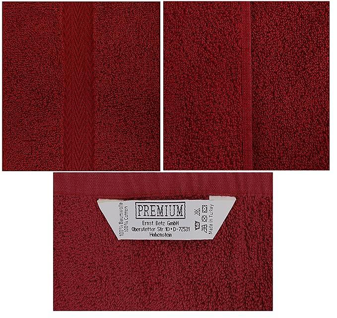 Betz. Set di 10 lavette misura 30 x 30 cm 100 % cotone Premium colore rosso  scuro e grigio antracite  Amazon.it  Casa e cucina fa08199d714c
