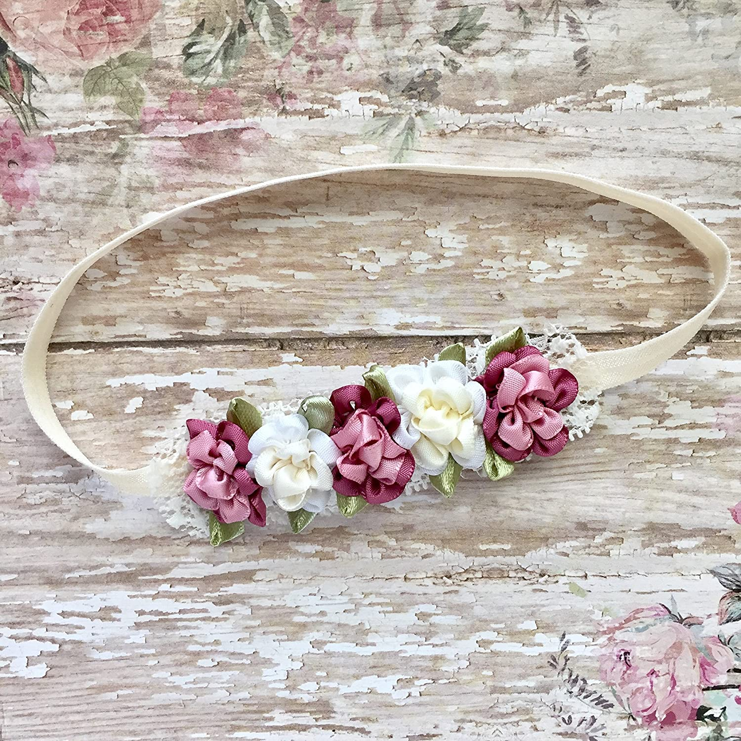 Pink Mauve Ivory White Newborn Baby Headband, Dainty Small Flower Vintage Infant Headband Girl Bows