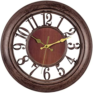 Bernhard Products Decorative Wall Clock 13 Inch Silent Non Ticking Battery Operated Vintage Rustic Brown with Floating Numbers Clocks for Kitchen/Living Room/Dining Room/Bedroom/Bathroom or Office