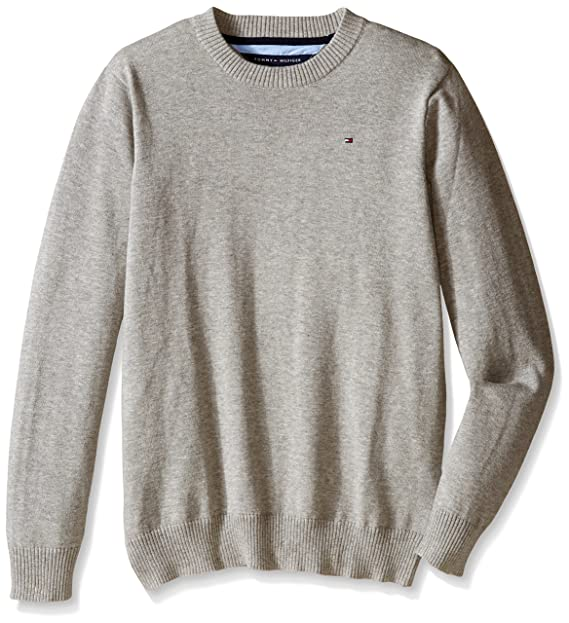 Tommy Hilfiger Toddler Boys' Long Sleeve Alan Crew Neck Sweater, Grey  Heather, 2