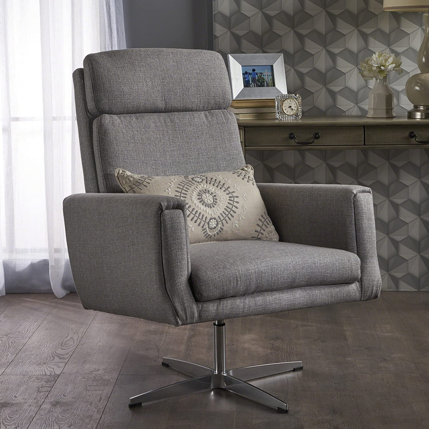 Amazon com hooper swivel arm chair perfect for home office or living room modern design fabric in grey kitchen dining