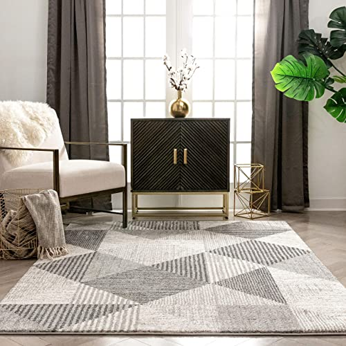 Well Woven Baldosa Grey Ivory Boxes Stripes Abstract Geometric Pattern Area Rug 8×10 7'10″ x 9'10″