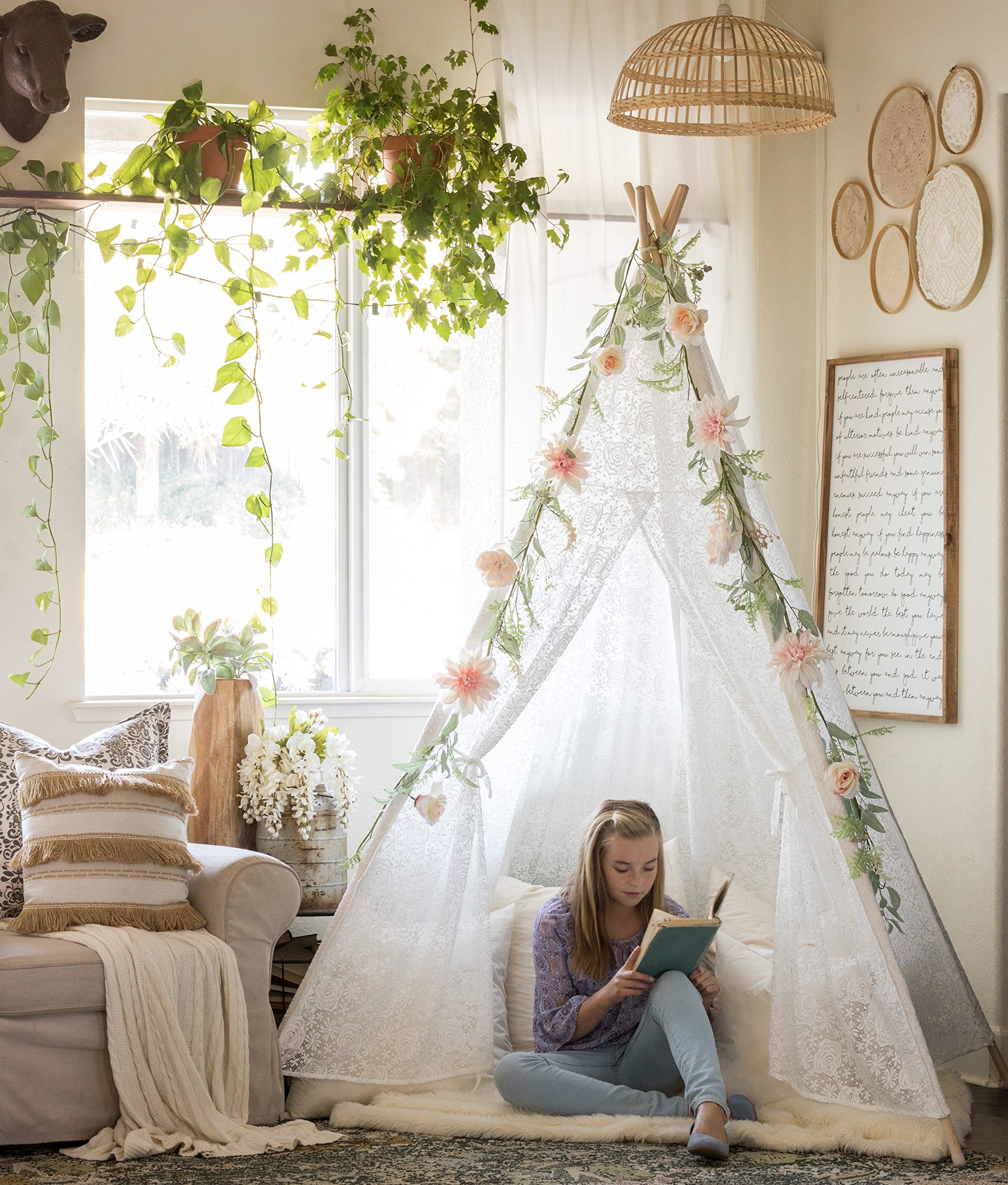Tiny Land Huge Teepee Luxury Lace Tent for Wedding, Party, Photo Prop (7.5 Feet Tall) 5-Poles Lace Canopy for Indoor & Outdoor Use by Tiny Land
