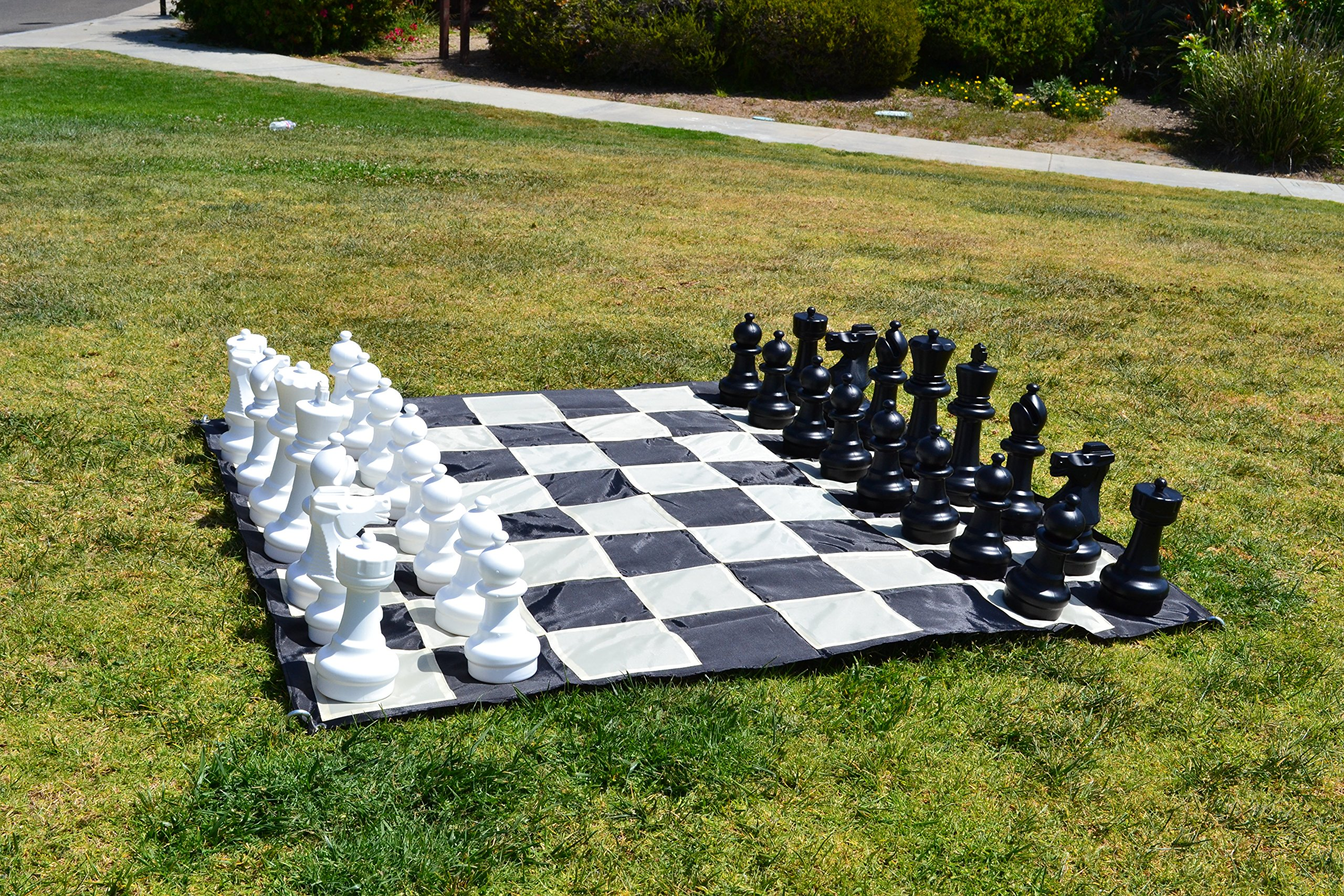 MegaChess Large Chess Pieces - Black and White - Plastic Set - 12 inch King
