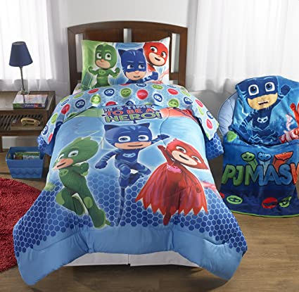 Super Soft and Cute, PJ Masks Reversible Bed in a Bag Bedding Set, Blue