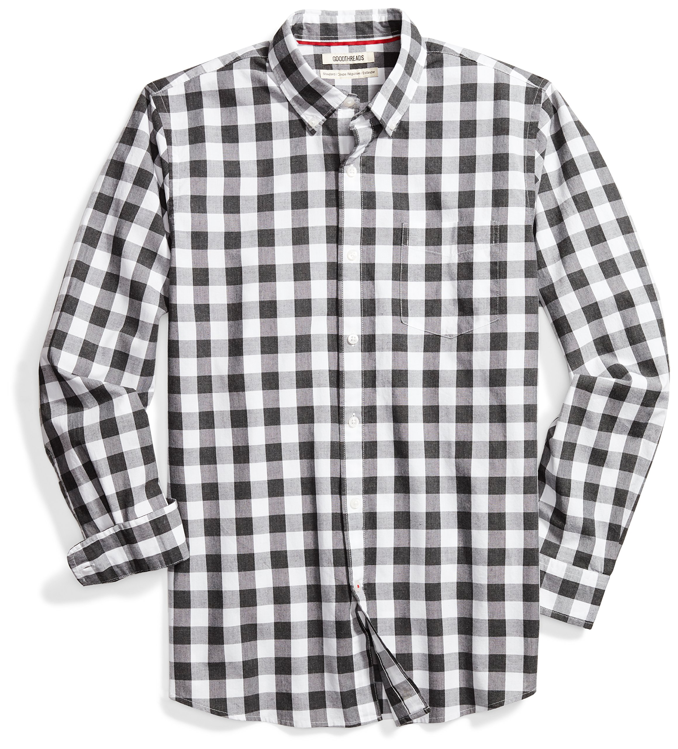 Goodthreads Men's Standard-Fit Long-Sleeve Heathered Large-Scale Check Shirt, White/Grey, Medium