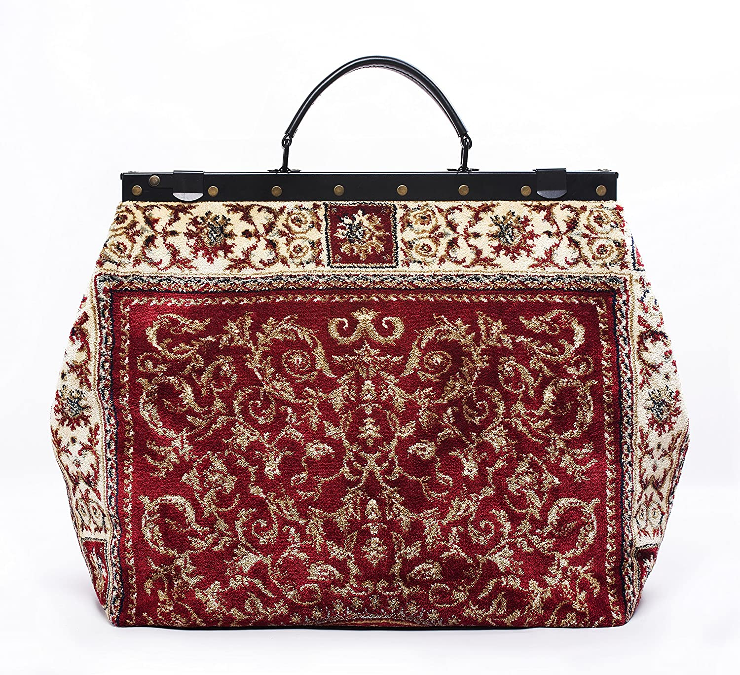 Carpet Bag SAC-VOYAGE Ancient Red - Magical Mary Poppins Vintage-Style Carpet Bag with leather handle and detachable strap.