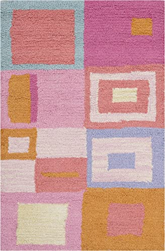 Safavieh Safavieh Kids Collection SFK317A Handmade Pink and Multi Cotton Area Rug 2 x 3