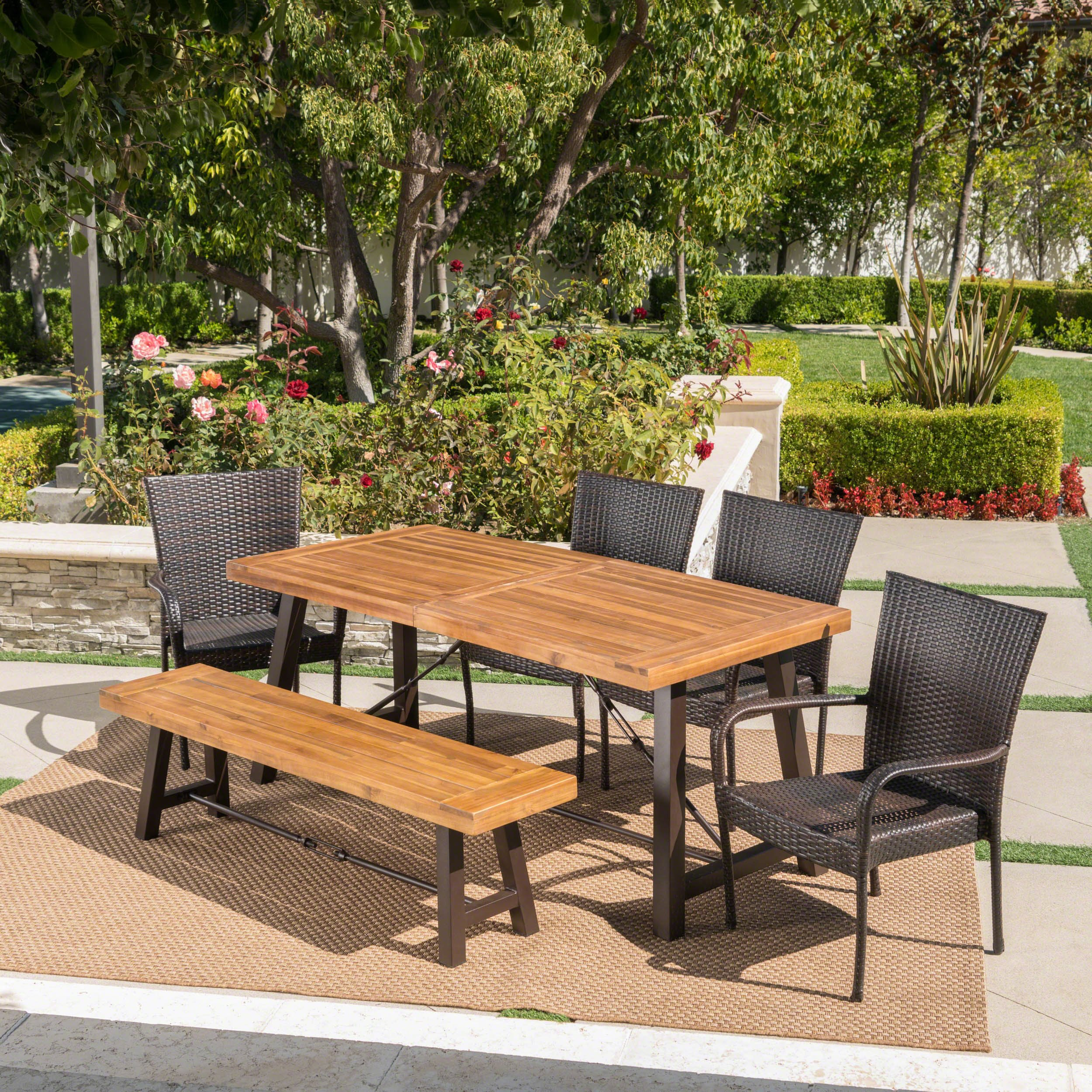 Great Deal Furniture Salla | 6 Piece Outdoor Acacia Wood Dining Set with Wicker Stacking Chairs | in Multibrown with Teak Finish by Great Deal Furniture (Image #2)