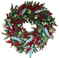 The Wreath Depot Keene Evergreen and Berry Winter Wreath, 22 Inch, Full Artificial Designer Christmas Wreath for All Winter Display, White Gift Box