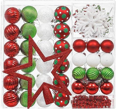 Valery Madelyn 60Pcs Bolas de Navidad Set, Adornos de Navidad para Arbol, Decoración de Bolas Navideños de Plástico Rojo Blanco y Verde, Regalos de Colgantes de Navidad (Coleccion Clasica): Amazon.es: Hogar