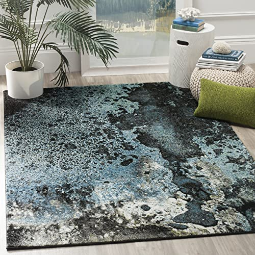 Safavieh Glacier Collection GLA124B Abstract Blue and Multi Area Rug 8 x 10