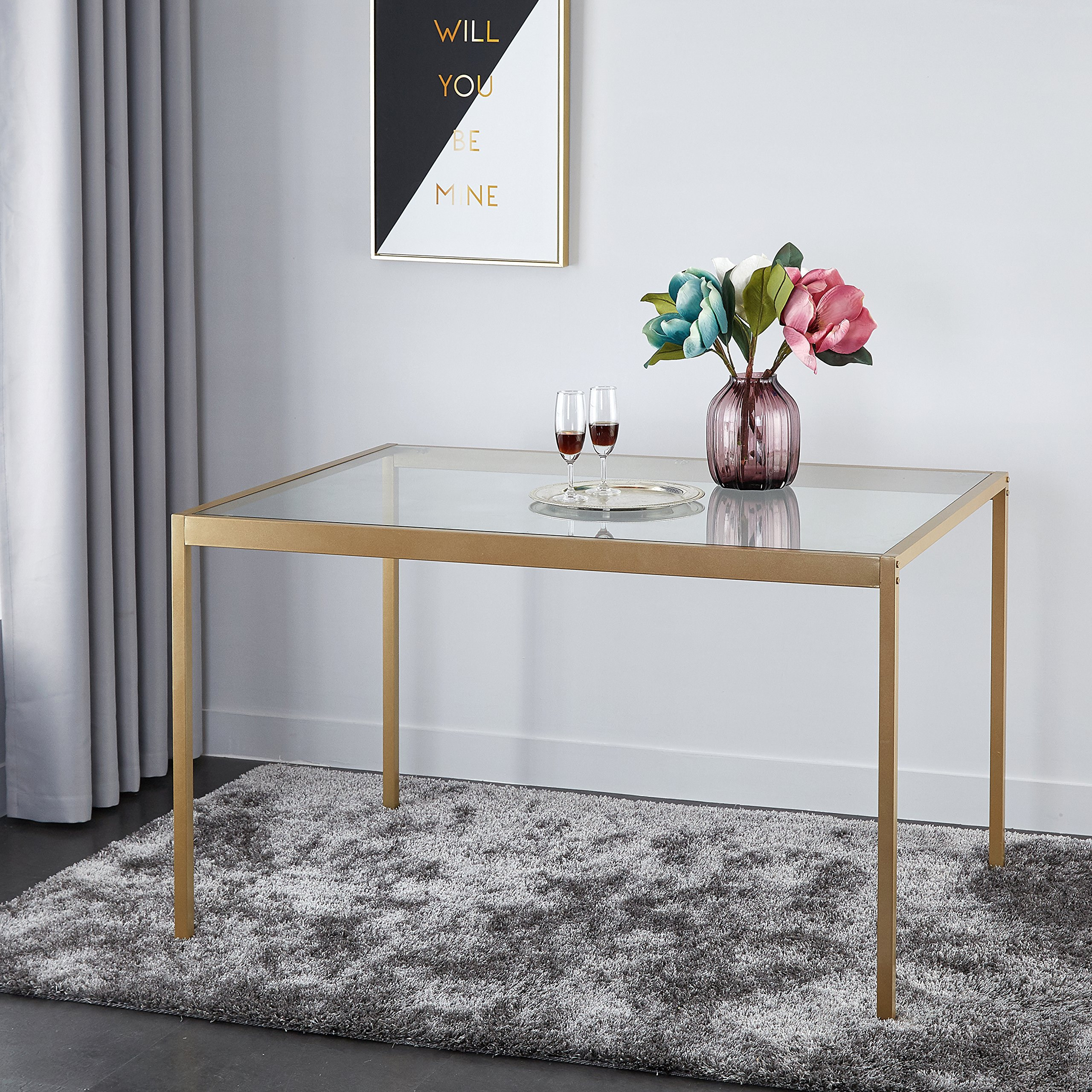 Stylish Tempered Glass and Metal Dining Table (Medium)
