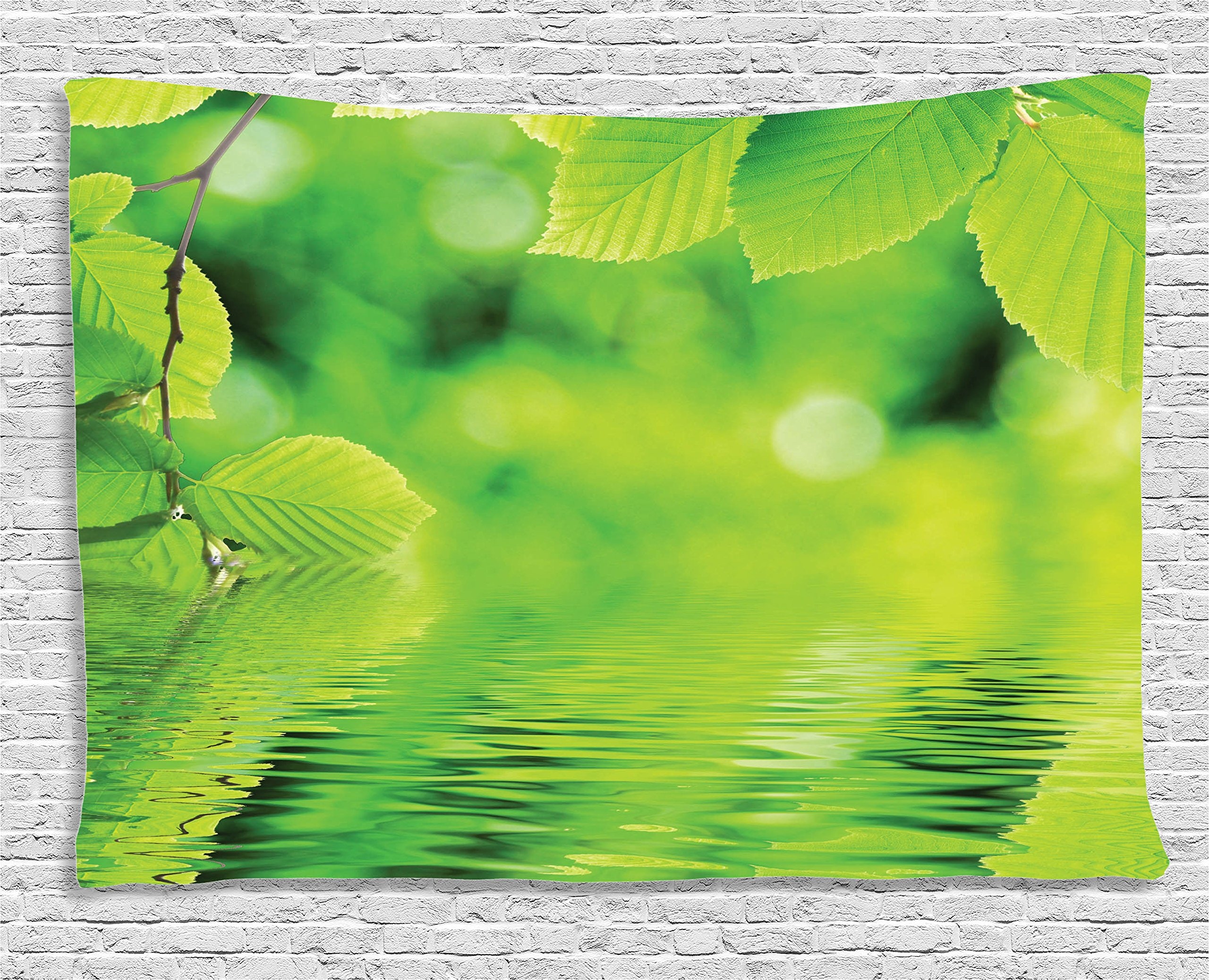 Ambesonne Leaves Decor Collection, Leaves in The Water Spa Open Your Chakra with Nature Meditation Ecological Monochrome Photo, Bedroom Living Room Dorm Wall Hanging Tapestry, 60 X 40 inches, Green