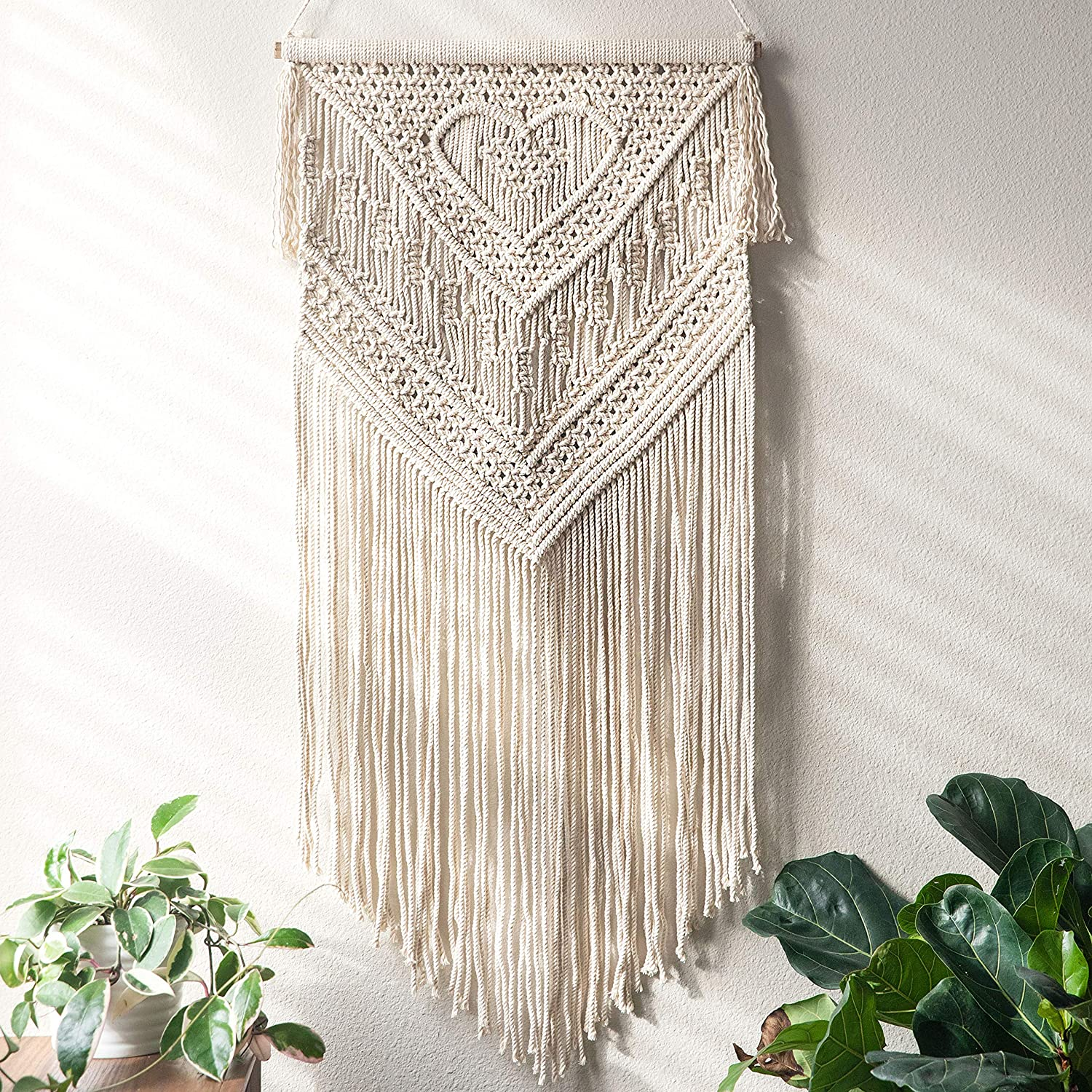 """Macrame Wall Hanging Home Decor Art Size 16"""" X 35"""" - Woven Bohemian Boho Chic Beige Wall Decoration Tapestry for Nursery, House, Dorm Room, Apartment, Party, Wedding Decoration"""