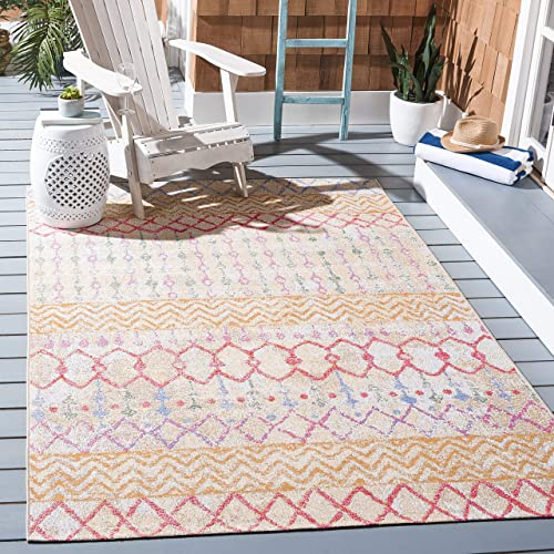 Safavieh Summer Collection SMR497D Indoor Outdoor Area Rug, 5 3 x 7 6 , Gold Blue